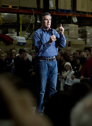 Mitt Romney was in the mood for blue, wearing this button-down and jeans combo to a campaign in Minnesota.