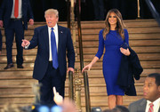 Melania Trump accompanied her husband on a campaign stop wearing a royal blue form-fitting day dress.