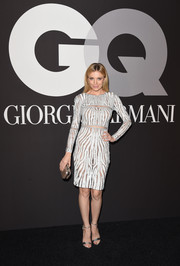 Bar Paly complemented her sexy dress with silver ankle-strap sandals by Alexandre Birman.