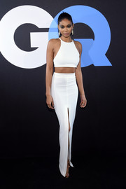 Chanel Iman flaunted her supermodel figure in a white racer-neckline crop-top during the GQ and LeBron James All-Star Style event.