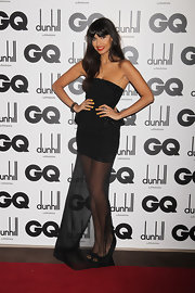 Jameela Jamil looked sexy at the 2011 GQ Men Of The Year Awards in this fitted bodice and sheer skirt dress.