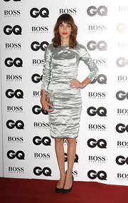 Alexa Chung brought a futuristic vibe to the GQ Men of the Year Awards red carpet with this silver sheath dress.