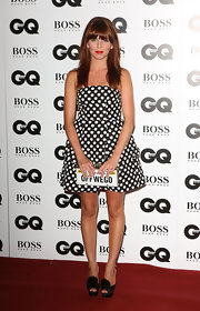 Ophelia Lovibond's pompom-embellished platform peep-toes and apple-print dress at the GQ Men of the Year Awards were a cute pairing.