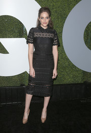 Carly Chaikin looked impeccable in a collared lace LBD by Sandro at the GQ Men of the Year party.