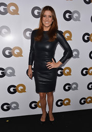 Kate jumped in on the leather trend in her long-sleeve luxe dress at the GQ Men of the Year Party.
