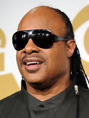 Stevie Wonder wore his signature shield shades while attending the Grammy Nominations concert.