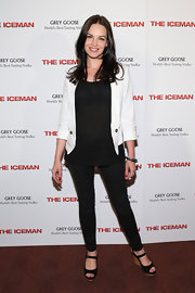 Tammy Blanchard rocked a white blazer over a sheer black blouse and skinny pants.
