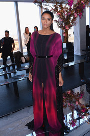 Ciara looked exotic and chic in a floor-sweeping, tie-dye-print caftan by Gabriela Cadena during the label's fashion show.