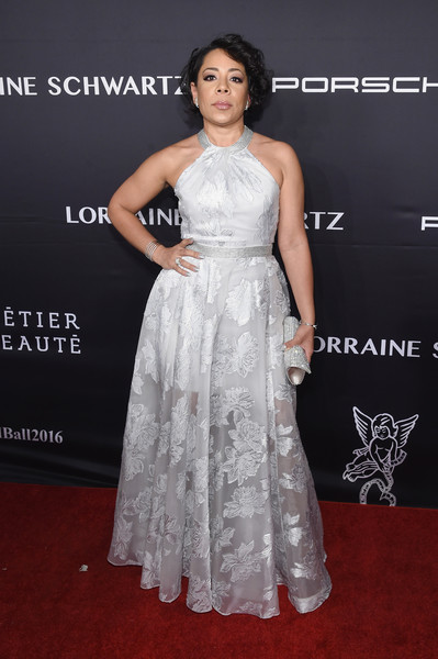 Selenis Leyva cut a classic silhouette in a silver Carmen Marc Valvo halter gown at the Angel Ball 2016.