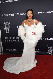 Christina Milian stunned in a cleavage-flaunting white fishtail gown by Nicole Miller at the Angel Ball 2016.