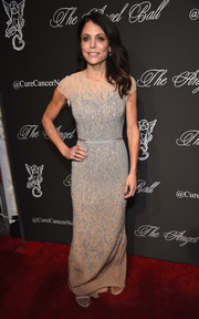 Bethenny Frankel donned an intricately beaded nude gown for the Angel Ball.