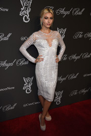 Hailey Baldwin was a fashionable head turner at the Angel Ball in her sequined white Gabriela Cadena LWD.