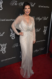 Kris Jenner brought a bit of Old Hollywood to the Angel Ball red carpet with this vintage-glam beaded gown.