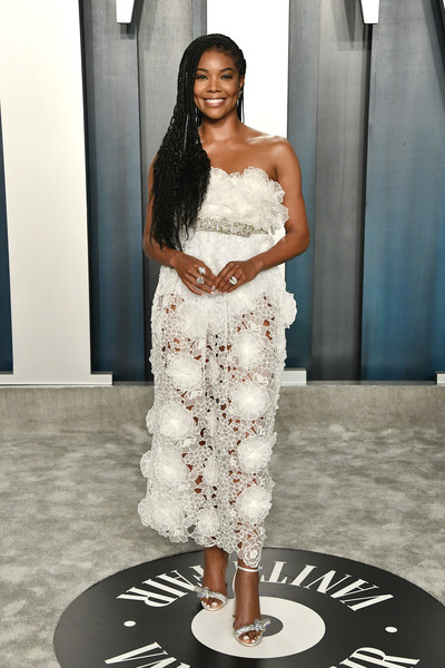 Gabrielle Union Evening Sandals [fashion model,white,clothing,shoulder,fashion,dress,lady,beauty,hairstyle,fashion design,gabrielle union,radhika jones - arrivals,actor,fashion,model,fashion model,celebrity,oscar party,vanity fair,party,gabrielle union,92nd academy awards,oscar party,fashion,vanity fair,celebrity,model,party,actor,runway]