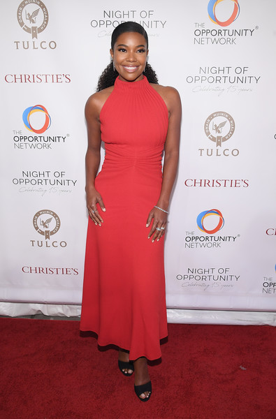 Gabrielle Union Peep Toe Pumps [red carpet,clothing,dress,carpet,red,shoulder,cocktail dress,fashion,hairstyle,flooring,cipriani wall street,new york city,night of opportunity gala,gabrielle union]