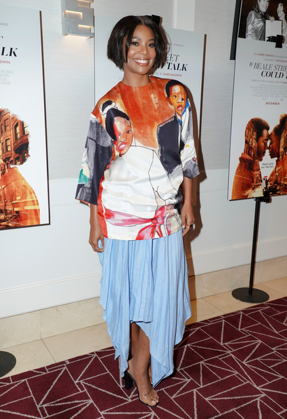 Gabrielle Union Print Blouse [clothing,fashion,costume,fashion design,shoulder,event,fashion accessory,exhibition,style,gabrielle union,if beale street could talk,screening,screening,west hollywood,california,the london hotel]