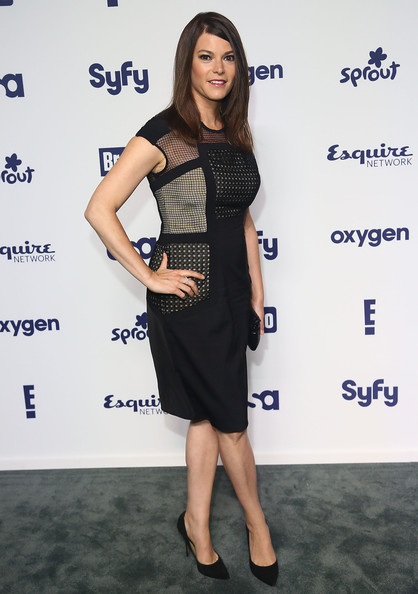 Gail Simmons Little Black Dress [entertainment upfronts,nbcuniversal cable,nbcuniversal cable entertainment upfronts,clothing,dress,cocktail dress,little black dress,shoulder,fashion,fashion model,premiere,footwear,joint,new york city,the jacob k. javits convention center,gail simmons]