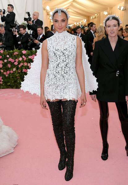 Gal Gadot Over the Knee Boots [fashion,fashion model,haute couture,clothing,event,carpet,flooring,red carpet,dress,fashion show,fashion - arrivals,gal gadot,notes,fashion,new york city,metropolitan museum of art,met gala celebrating camp]