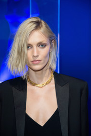 Anja Rubik looked edgy with her layered bob at the Mene 24K and Yves Klein celebration.