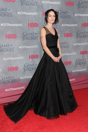 Lena Headey was goth princess in a black sheer-panel gown by Jenny Packham during the 'Game of Thrones' season 4 premiere.