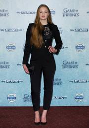 Sophie Turner chose a fitted black pantsuit for the 'Game of Thrones' season 4 premiere in London.