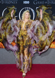 Gwendoline Christie looked mesmerizing in a flowing print gown by Iris van Herpen Couture at the 'Game of Thrones' season 8 premiere.