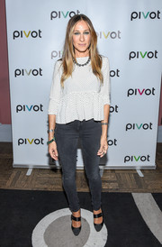 Sarah Jessica Parker topped off her jeans with a cute pin-dot peplum blouse.