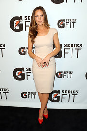 Minka Kelly teamed her ladylike shift with coral patent Maniac platforms.