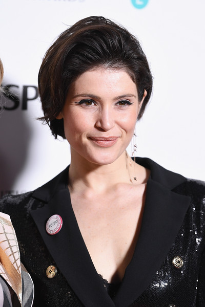 Gemma Arterton Bob [hair,hairstyle,eyebrow,chin,lip,black hair,brown hair,layered hair,long hair,white-collar worker,red carpet arrivals,gemma arterton,british academy film awards,nominees party,ee,england,london,kensington palace,nominees party,bafta]