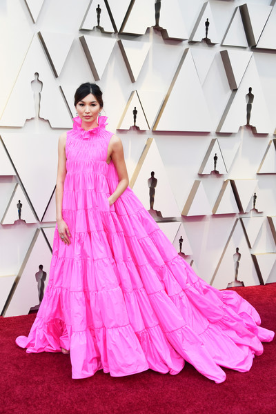 Gemma Chan Evening Dress [dress,gown,clothing,pink,shoulder,fashion model,formal wear,haute couture,fashion,carpet,arrivals,dress,gown,gemma chan,academy awards,fashion,red carpet,fashion model,hollywood,annual academy awards,fashion,dress,red carpet,cocktail dress,gown,model,satin,fashion show]