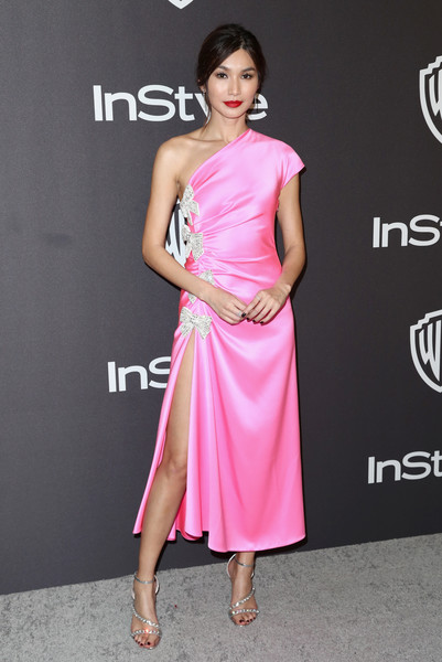 Gemma Chan Strappy Sandals [clothing,dress,shoulder,pink,fashion model,cocktail dress,joint,neck,waist,fashion,gemma chan,beverly hills,california,the beverly hilton hotel,instyle,golden globes,warner bros.,arrivals,party]