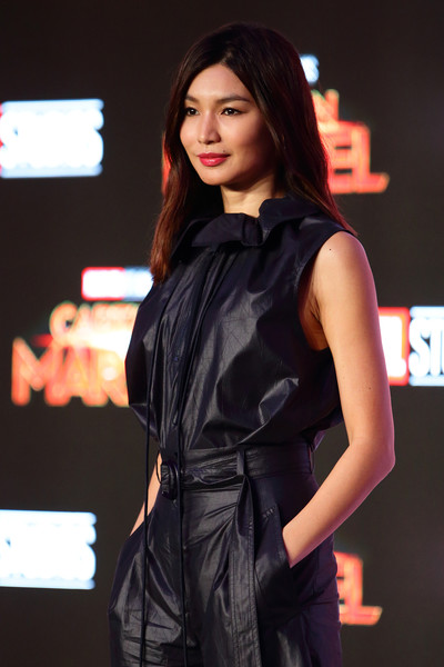 Gemma Chan Loose Top [captain marvel talent tour press conference,fashion model,clothing,beauty,fashion,fashion design,model,fashion show,dress,long hair,black hair,gemma chan,singapore,press conference,marina bay sands expo and convention centre]