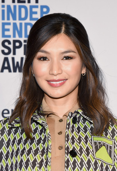Gemma Chan Half Up Half Down [hair,face,hairstyle,eyebrow,lip,beauty,long hair,brown hair,layered hair,chin,gemma chan,w hollywood,hollywood,california,film independent spirit awards nomination press conference]