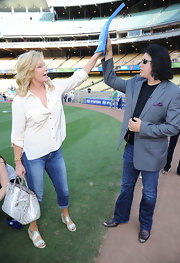 Shannon Tweed carried a python tote at the Dodgers game.