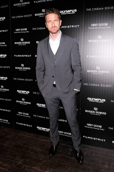 Gerard Butler Men's Suit [olympus has fallen,suit,formal wear,tuxedo,white-collar worker,pantsuit,outerwear,premiere,blazer,style,arrivals,gerard butler,screening,grey goose,tribeca grand hotel,grey goose host a screening of filmdistrict,cinema society with roger dubuis,the cinema society,roger dubuis]