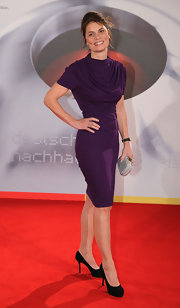 Sarah Wiener's eggplant cocktail dress had the most perfectly draped neckline.