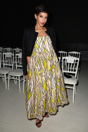 Princess Deena Aljuhani Abdulaziz donned a voluminous yellow print dress for the Giambattista Valli Couture fashion show.
