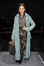 Margherita Missoni finished off her busy print-on-print ensemble with a houndstooth tweed coat at the Giambattista Valli fashion show.