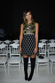 Jessica Alba went for some '60s flair in a mixed-print mini dress by Giambattista Valli during the label's fashion show.