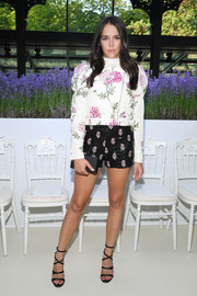 Pauline Ducruet pulled off the mismatched look with her floral shorts and blouse combo.