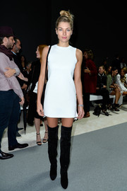 Jessica Hart's black thigh-high boots and white mini dress at the Giambattista Valli show were a simple yet stylish pairing.
