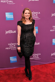 Jenna Fischer's little black dress had iridescent ribbing for added interest.