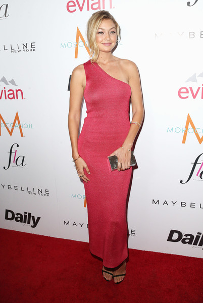 Gigi Hadid Box Clutch [dress,clothing,shoulder,cocktail dress,red carpet,carpet,pink,fashion,premiere,joint,fashion los angeles awards,daily front row,front row,west hollywood,california,sunset tower hotel,gigi hadid,arrivals]