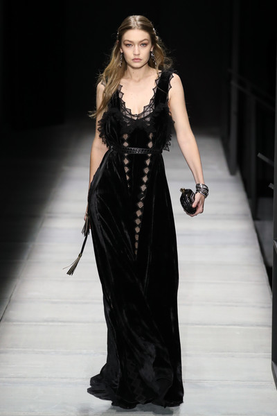Gigi Hadid Evening Dress [fashion model,runway,catwalk,fashion,fashion show,beauty,model,dress,gown,haute couture,winter 2018 collection,gigi hadid,bottega veneta - runway,runway,new york city,american stock exchange,bottega veneta fall,new york fashion week]