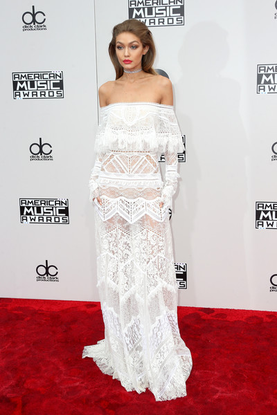 Gigi Hadid Off-the-Shoulder Dress [flooring,carpet,shoulder,gown,joint,red carpet,fashion,fashion model,long hair,haute couture,arrivals,gigi hadid,american music awards,microsoft theater,los angeles,california]