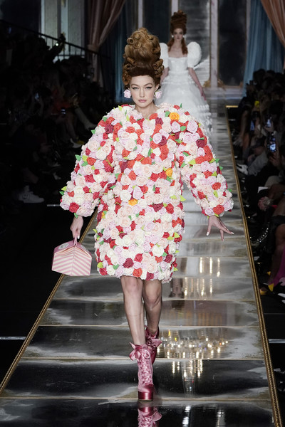 Gigi Hadid Printed Purse [fashion model,fashion,runway,fashion show,haute couture,clothing,pink,shoulder,spring,fashion design,gigi hadid,fashion,runway,part,haute couture,moschino - runway,runway,milan fashion week,fashion show,fashion show,runway,fashion,fashion show,haute couture,model,socialite]