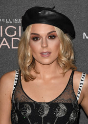 Tallia Storm attended the Gigi Hadid x Maybelline party wearing a black leather beret by Dior.