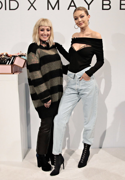 More Pics of Gigi Hadid Ankle Boots (1 of 46) - Boots Lookbook - StyleBistro [gigi hadid,erin parsons,fashion,fashion model,clothing,shoulder,beauty,fashion design,black-and-white,footwear,joint,waist,new york city,maybelline new york international master class]