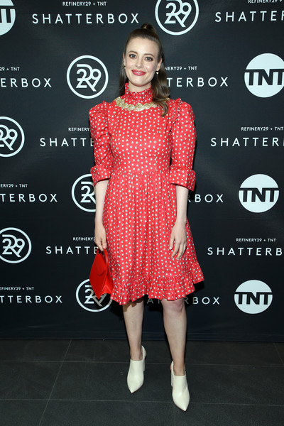 Gillian Jacobs Ankle Boots [fashion model,clothing,red,dress,fashion,cocktail dress,polka dot,fashion design,carpet,shoulder,gillian jacobs,shatterbox,toronto,canada,tiff bell lightbox,refinery29,tnt celebrate shatterbox,toronto film festival]