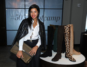 Hannah Bronfman covered up in edgy style with a black leather jacket when she attended the 5050 boot anniversary.